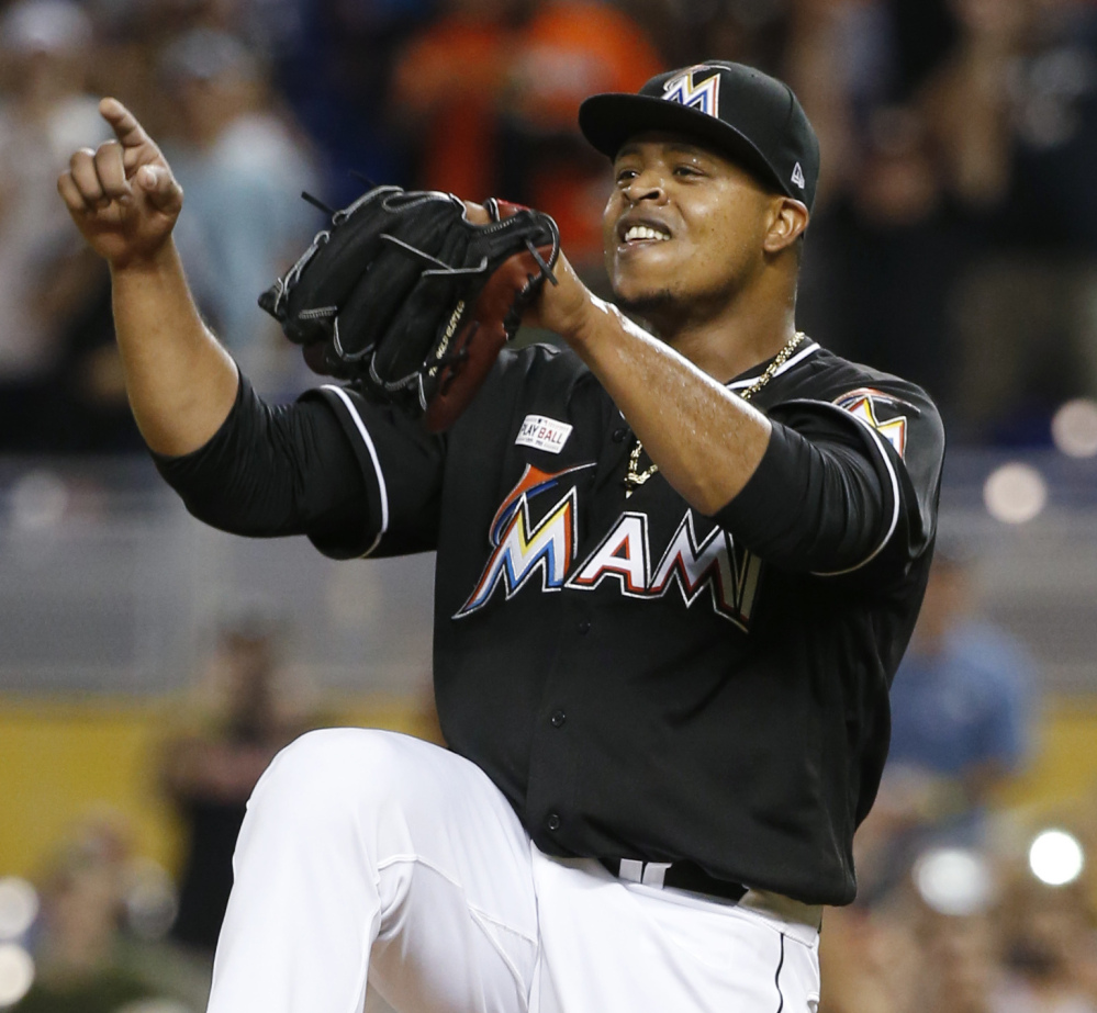 Edinson Volquez of Miami celebrates after throwing a no-hitter Saturday as the Marlins defeated the Arizona Diamondbacks 3-0 in Miami.