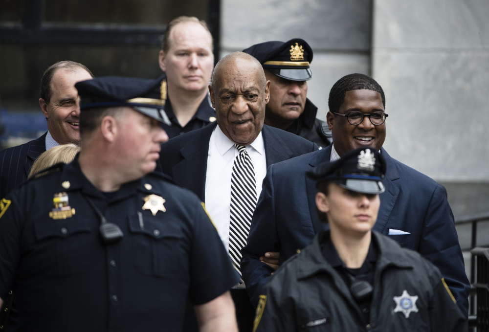 Bill Cosby leaves after a pretrial hearing in his sexual assault case at the Montgomery County Courthouse in Norristown, Pa., on April 3.