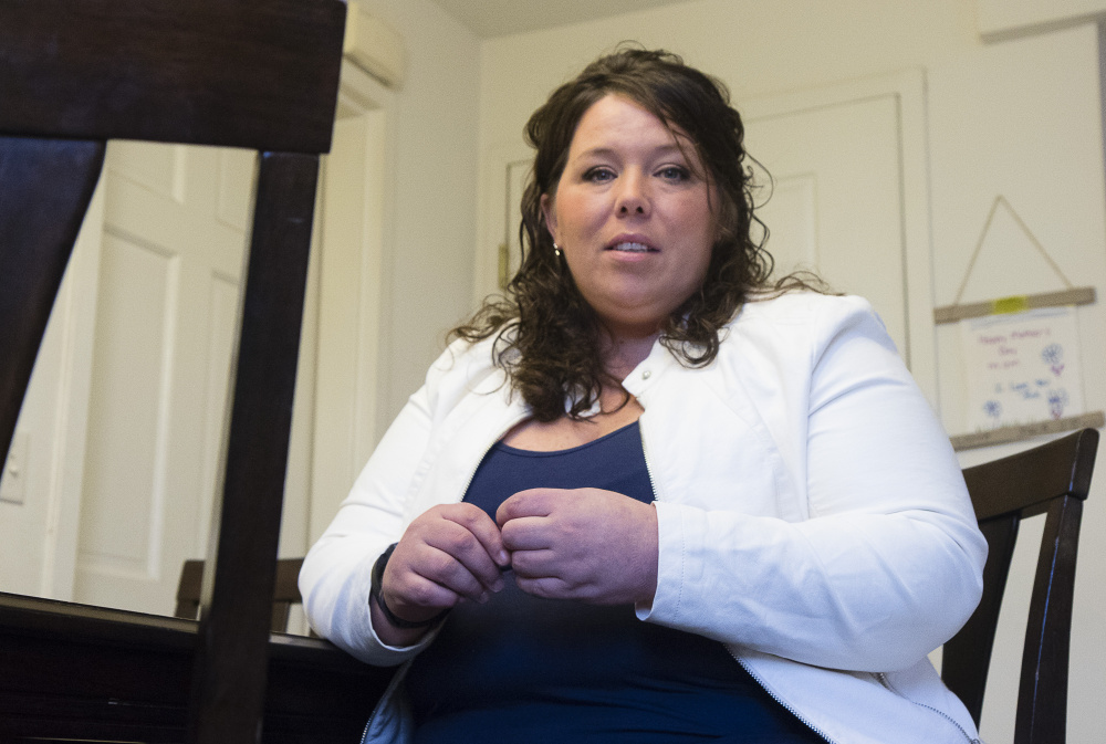 "Recovering from addiction and receiving treatment, Brianna Nielsen, 36, of Portland says Medicaid coverage is crucial to her family of three and even a $14 monthly premium would be a hardship on them. ""I would be devastated right now if I lost MaineCare insurance,"" she says. ""Our family would be in a crisis."""