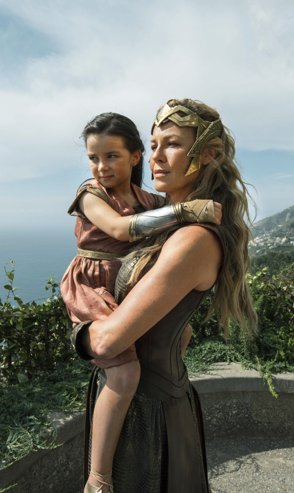 "Connie Nielsen and Lilly Aspell appear in a scene from ""Wonder Woman,"" which debuted atop the box office charts."