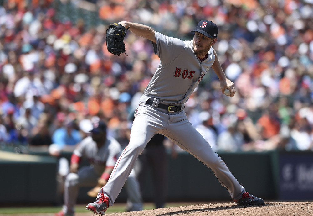 Red Sox pitcher Chris Sale allowed three runs on six hits while striking out nine and walking one to earn his seventh win of the season as Boston won 7-3 Sunday in Baltimore.