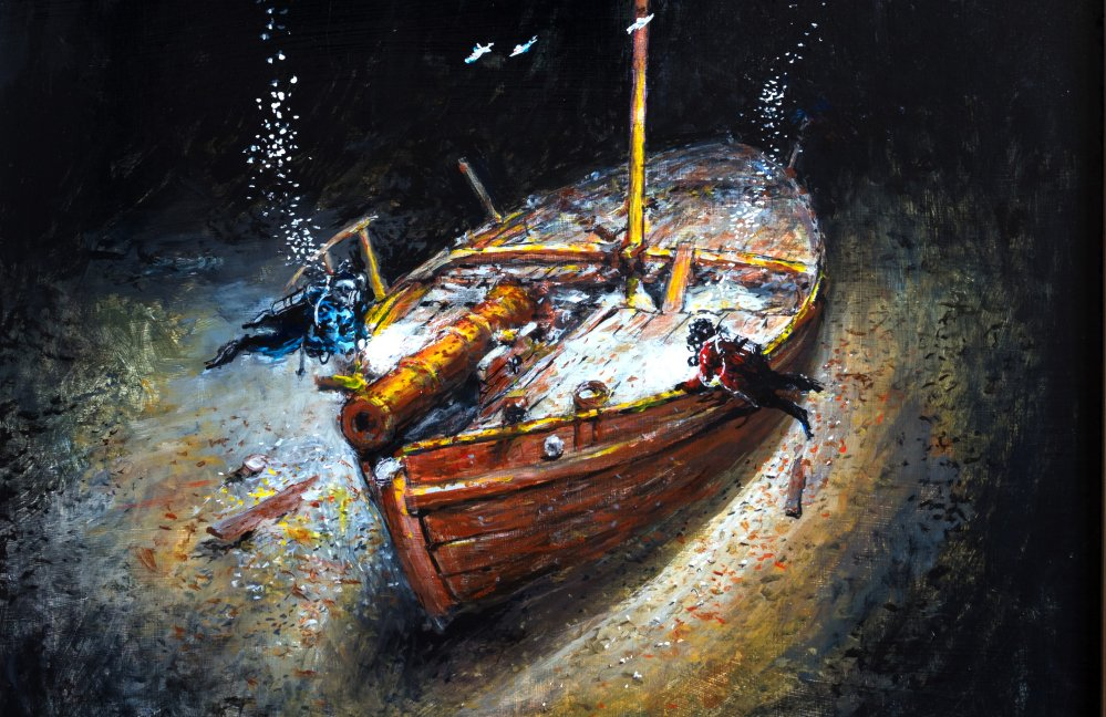 This painting by Ernie Haas shows divers hovering over the Revolutionary War gunboat