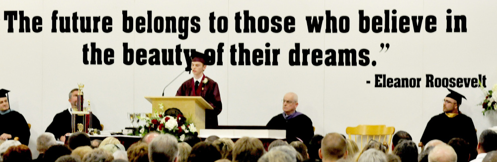 Maine Central Institute valedictorian Brayden Rollins speaks at commencement in Pittsfield on Sunday.