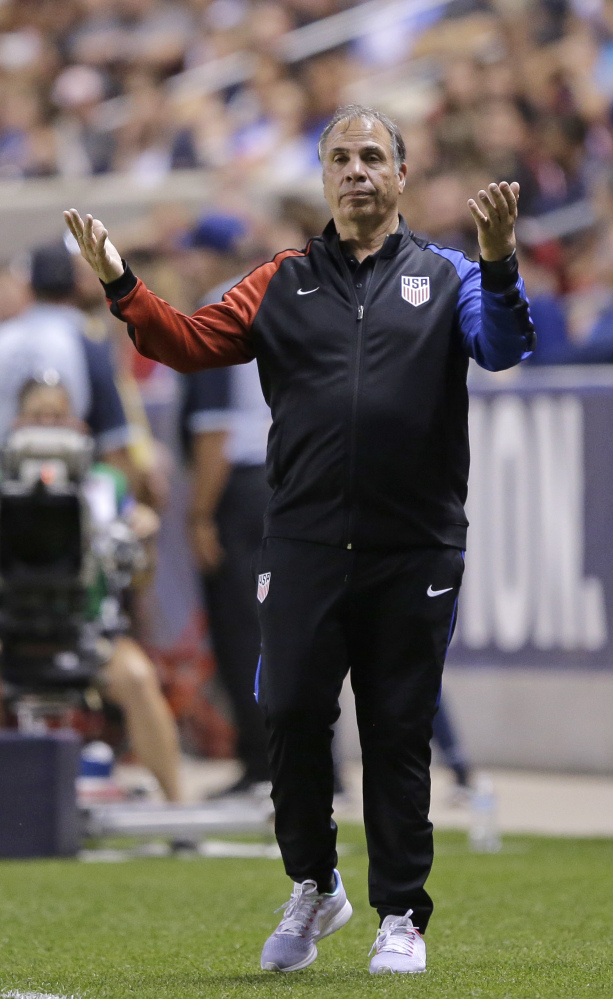 U.S. coach Bruce Arena reacts on the sideline during the second half of the team's international friendly soccer match against Venezuela on Saturday in Sandy, Utah.