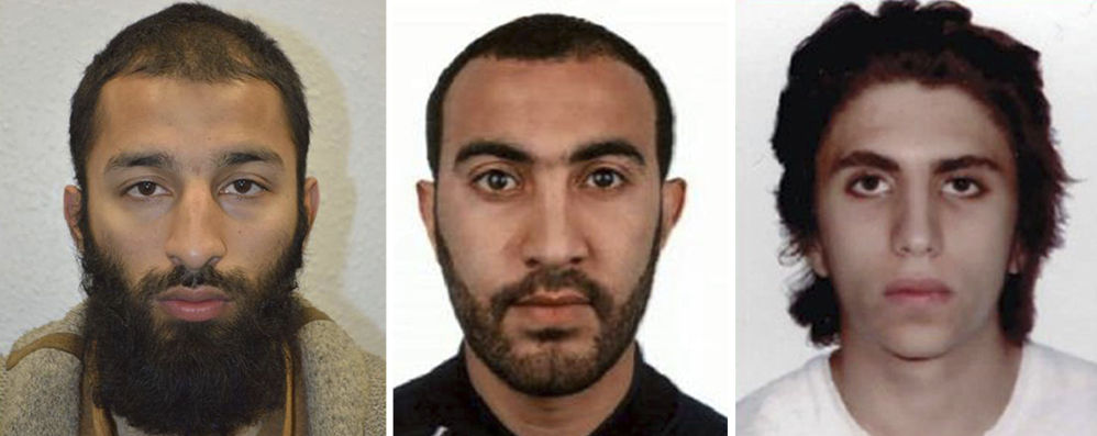 Khuram Shazad Butt, left, Rachid Redouane, center, and Youssef Zaghba have been named as the suspects in Saturday's attack at London Bridge.