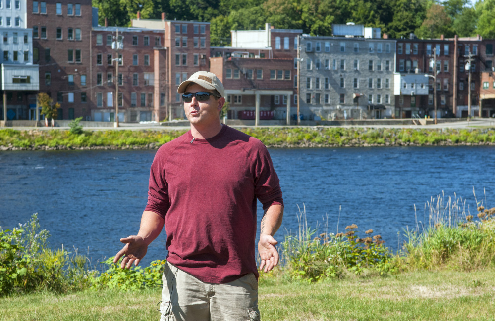Sean Scanlon of Dresden answers questions on Sept. 17 about how he saved a child the previous evening in the Kennebec River at Augusta's East Side Boat Landing.