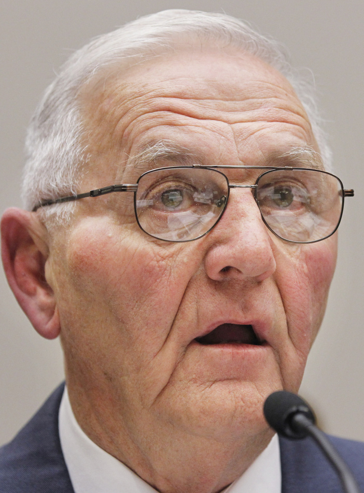"Wright County Egg owner Austin DeCoster, testifies on Capitol Hill in Washington, Wednesday, Sept. 22, 2010, before the House Oversight and Investigations subcommittee hearing on ""The Outbreak of Salmonella in Eggs"".  (AP Photo/Manuel Balce Ceneta)"