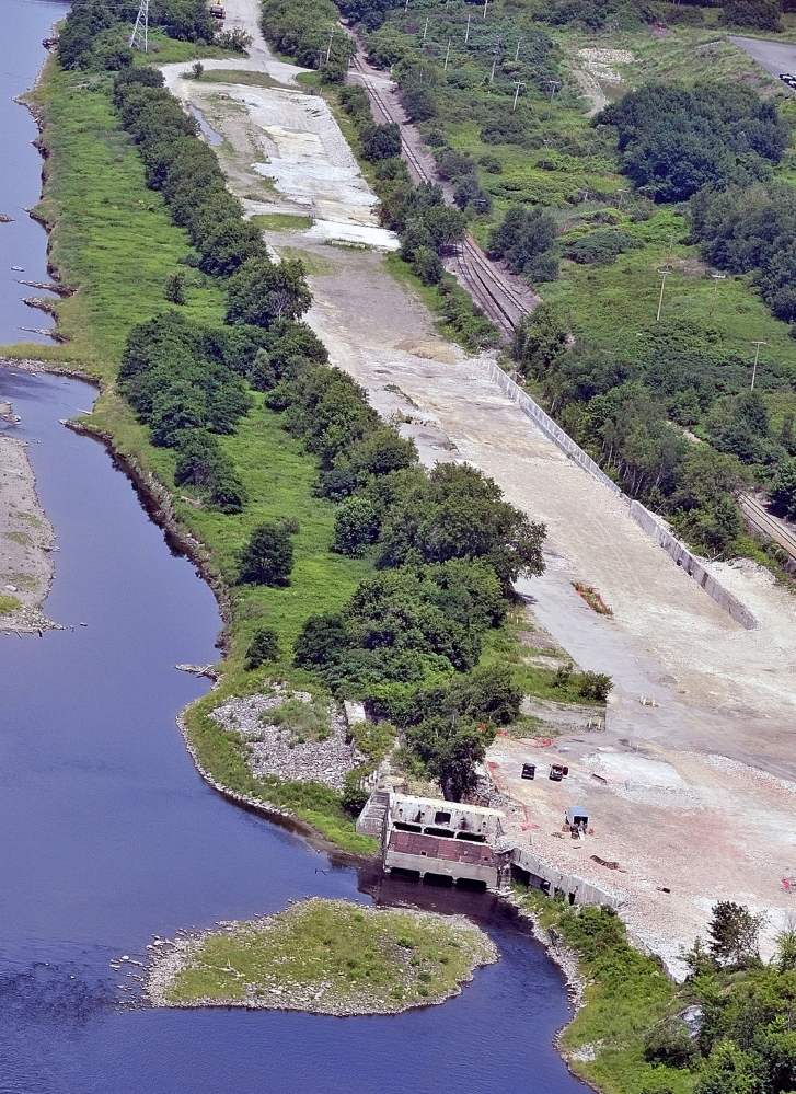 A July 2010 aerial view of the site where Statler Tissue once stood on the east side of Kennebec River in Augusta. The Augusta Housing Authority is proposing to build 34 rental units on a small portion of the property away from the water.