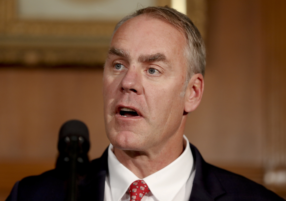 Interior Secretary Ryan Zinke, shown in April, said Congress should approve legislation granting tribes legal authority to