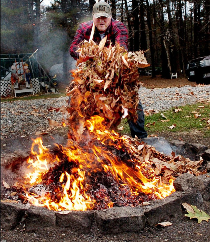 After wind blew hard late on Nov. 15, Randy Goodrich had plenty of leaves to burn at his home in Sidney.