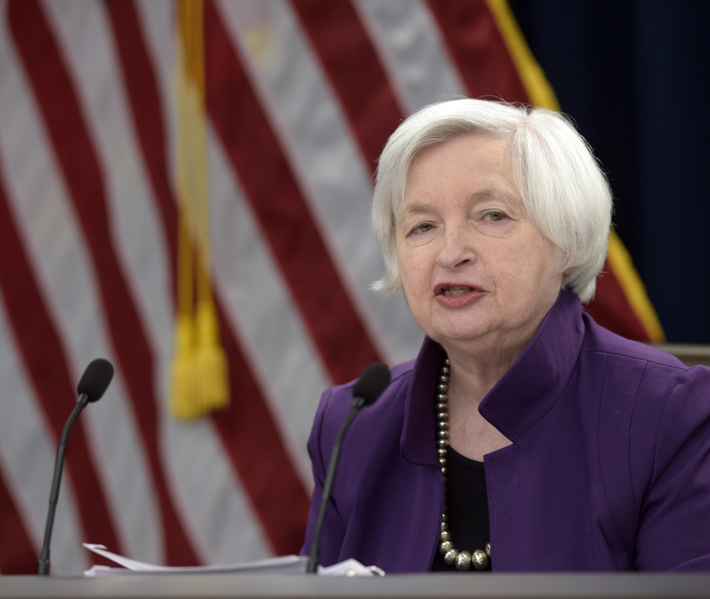 Federal Reserve Chair Janet Yellen, in Washington on Wednesday, speaks about an interest rate chaange that marks the third increase in six months.