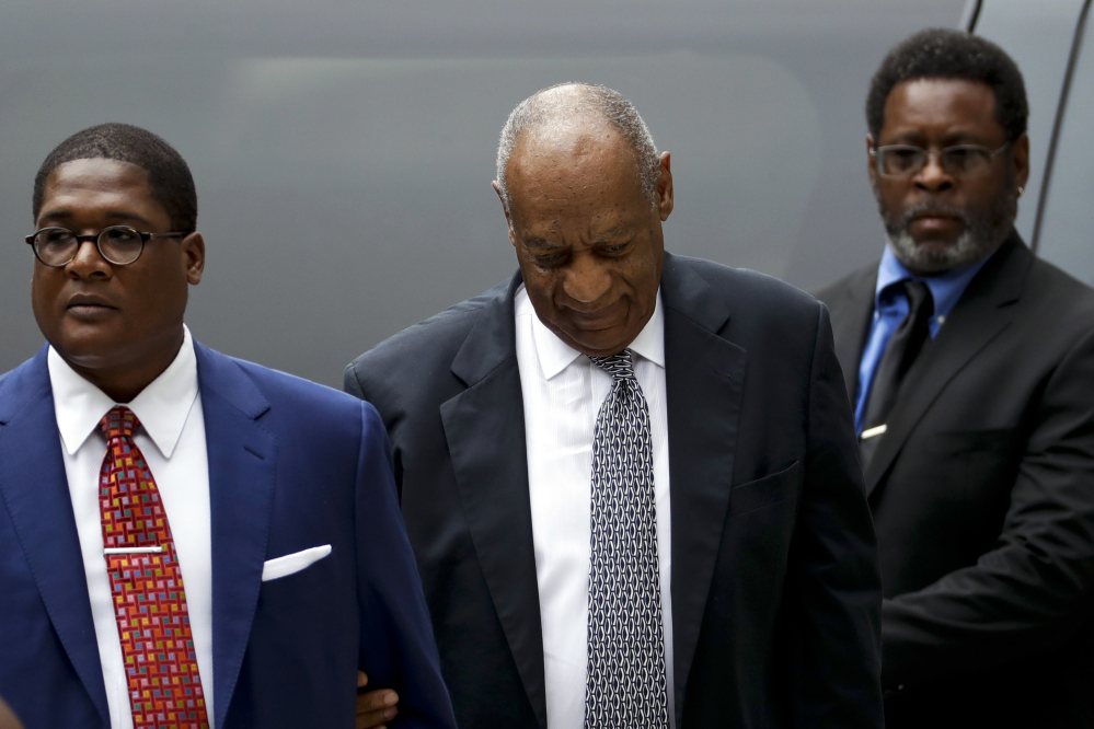 Bill Cosby arrives at the Montgomery County Courthouse during his sexual assault trial on Friday in Norristown, Pa.