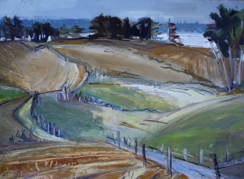 """November Morning,"" by Kate Emlen, oil on paper on panel, 12 by 15 inches."