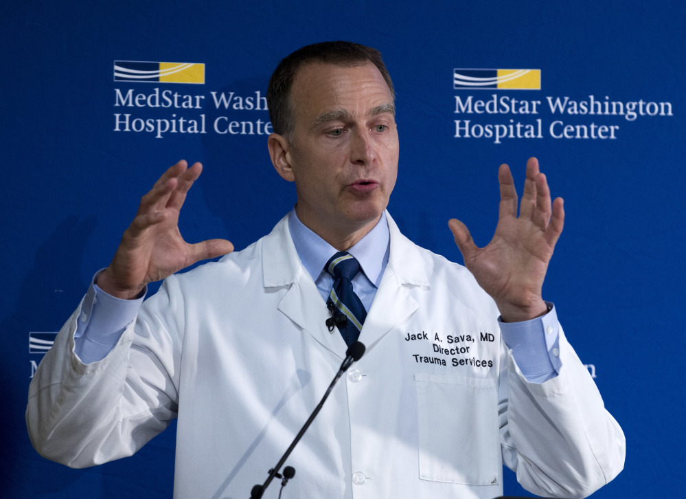 Dr. Jack Sava speaks at a news conference Friday at MedStar Washington Hospital Center about the condition of Rep. Steve Scalise of Louisiana. Sava said that Scalise arrived at the hospital at