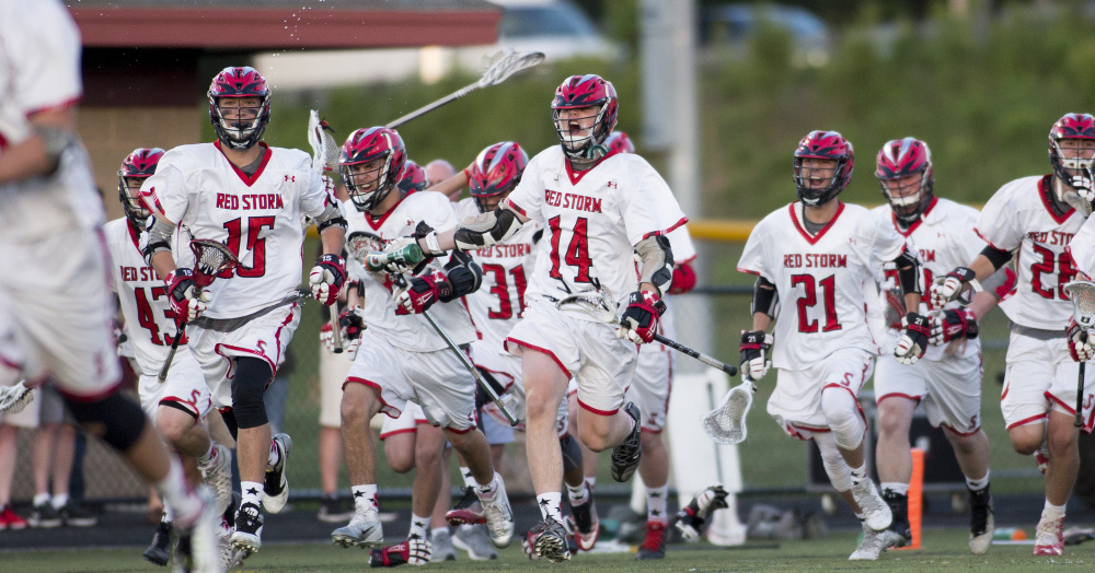 Scarborough earned a shot at its second straight Class A boys' lacrosse state championship when it beat Thornton Academy 20-16 in the South final Wednesday. The Red Storm's opponent Saturday is the same as last year's foe, Brunswick, which is in its fourth consecutive state final.