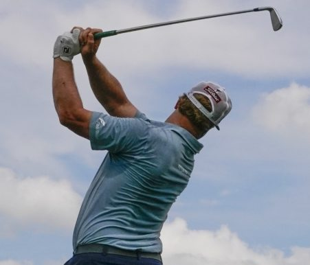Charley Hoffman hits a shot on the sixth hole during the third round of the U.S. Open Saturday at Erin Hills in Erin, Wisconsin. Hoffman shot 68 and is tied for seventh at 8-under par.