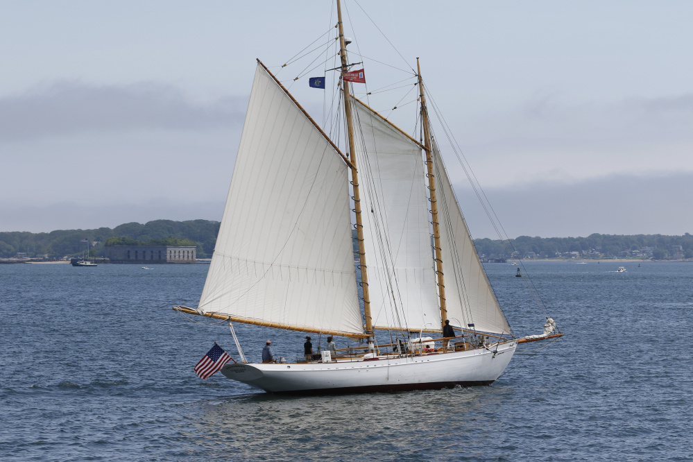 The schooner Wendameen sails Sunday in Portland Harbor.