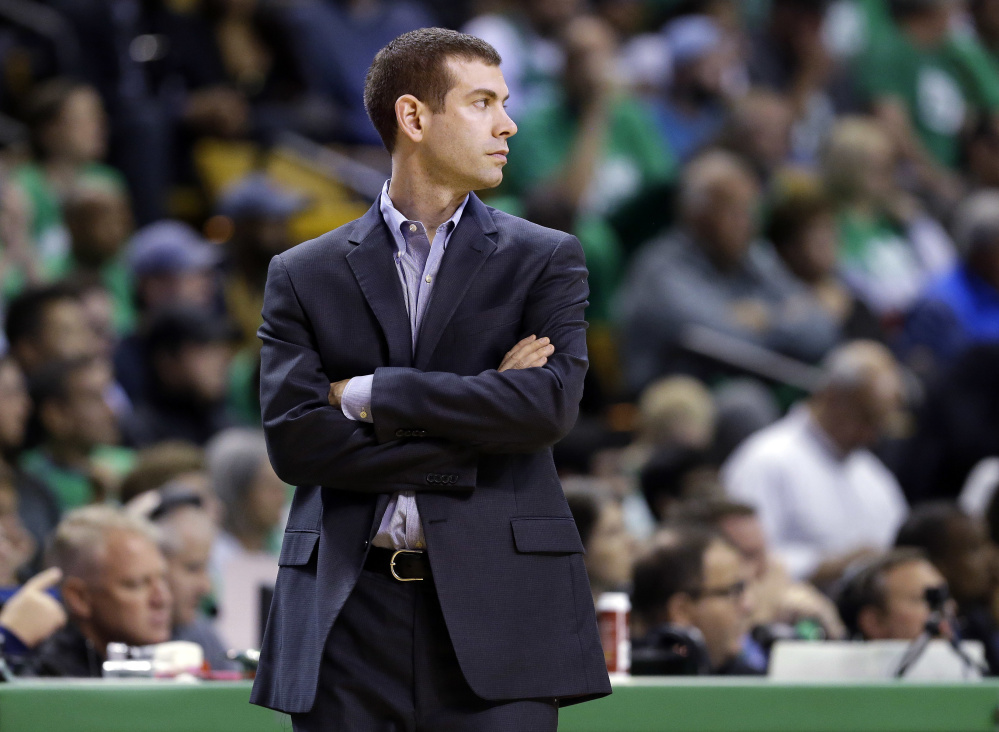 Boston Celtics head coach Brad Stevens watches action during the second half of Game 5 of the Eastern Conference finals against the Cavaliers on May 25 in Boston.