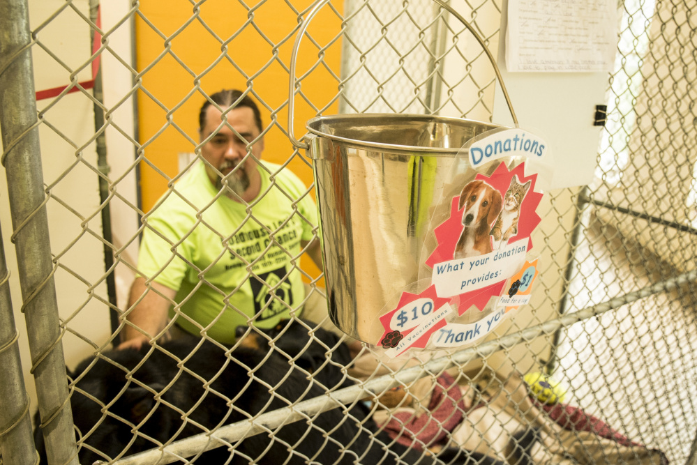 Robert Haley, the former radio personality Roadhouse Lou, in a dog kennel at the Kennebec Valley Humane Society.