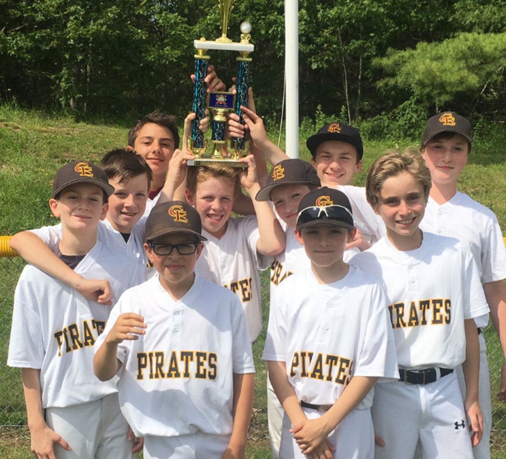 The Pirates won Cape Elizabeth Little League's Majors Division championship on Saturday with a 10-4 victory over the Red Sox. Team members, from left to right: Front – Tate Mosher and Andrew Libby; Middle – Curtis Sullivan, Will Clancy, Colin Blackburn, Sam Bischoff and Will Fougere; Back – Antonio Dell Aquila, Colin Willets and Will Bowe. The coaches are Dan Sullivan, Stefano DellAquila and Dave Bischoff, and the team administrator is Stephanie Bowe.