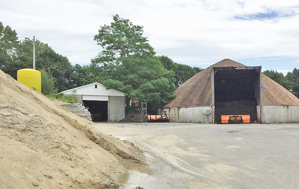 South Portland's current public works site on O'Neil Street includes dump trucks, garage facilities, sand piles and the salt shed.