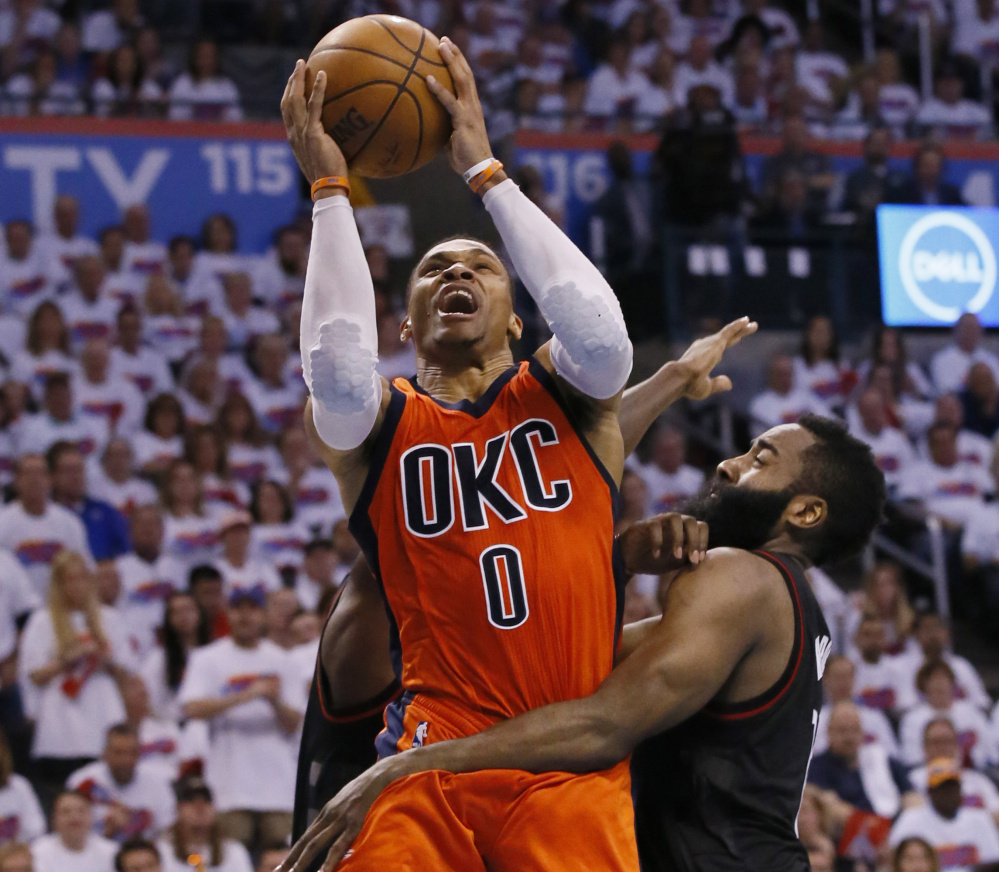 Oklahoma City guard Russell Westbrook was named NBA MVP after becoming the first player since Oscar Robertson to average a triple-double.