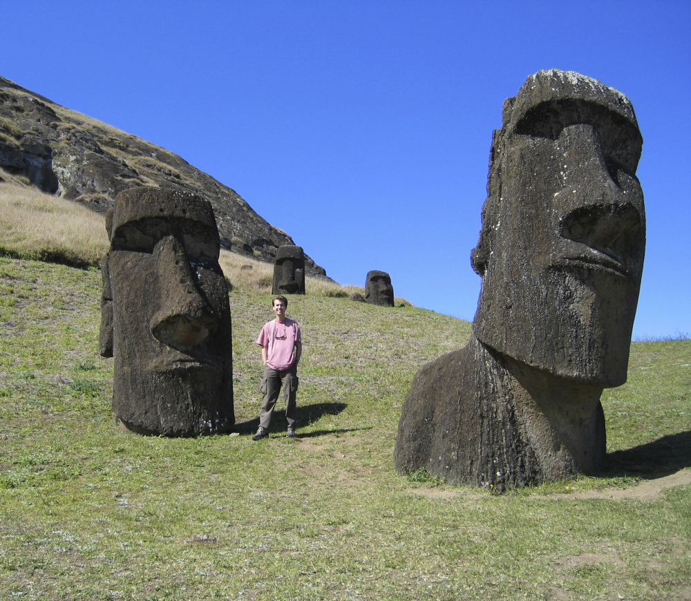 """Mike Scanlin, owner of Born to Sell, a business software company based in Las Vegas, visits Easter Island, 2,200 miles off  Chile, where cellphone and internet service were often unavailable. """"It's worth maybe losing a bit of business to accomplish the items on your bucket list,"""" he said."""