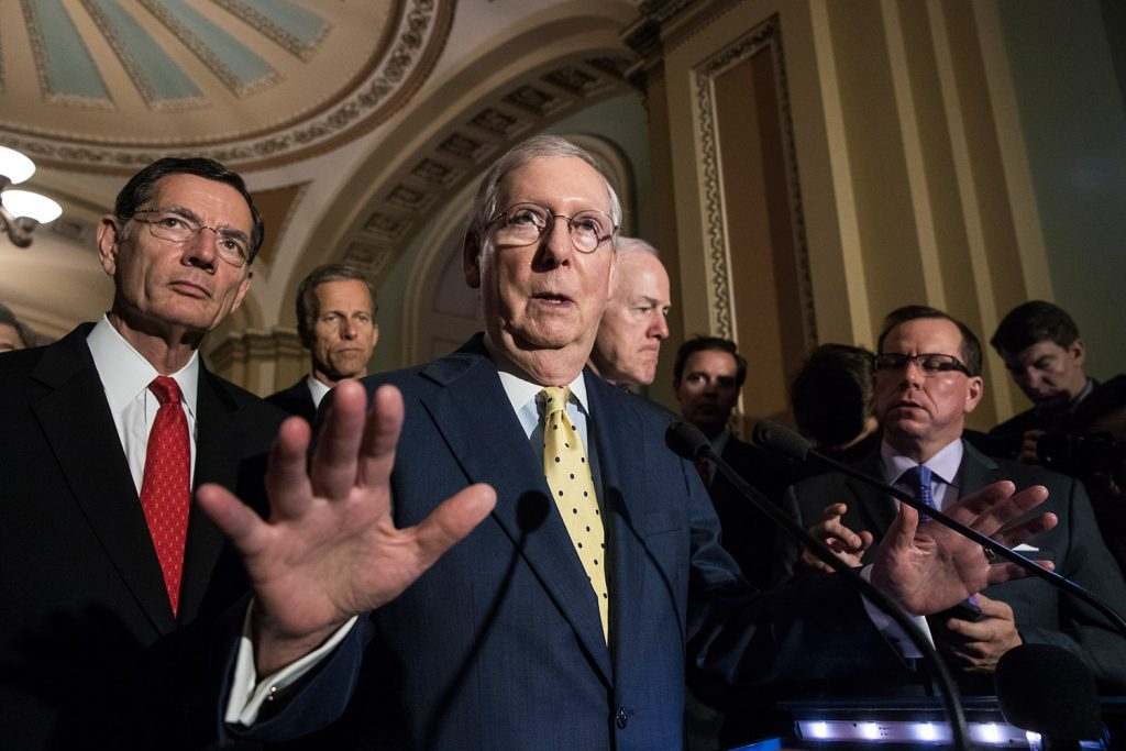Senate Majority Leader Mitch McConnell, R-Ky., joined by, from left, Sen. John Barrasso, R-Wyo., Sen. John Thune, R-S.D., and Majority Whip John Cornyn, R-Texas, speaks after a closed-door strategy session Tuesday. McConnell said Republicans will have a