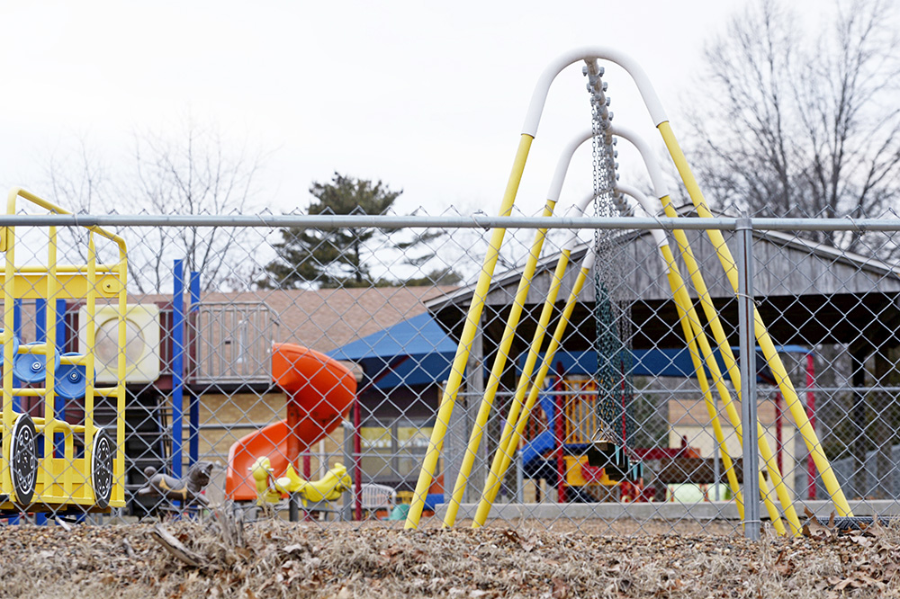 The playground at Trinity Lutheran Church in Columbia, Missouri in 2016. The Supreme Court has ruled that churches have the same right as other charitable groups to seek state money for new playground surfaces and other non-religious needs.