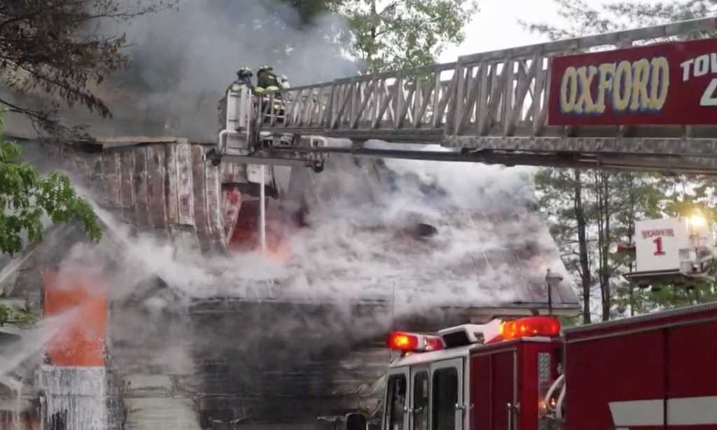Firefighters from multiple towns responded to a Monday evening fire at the Dead River Company in South Paris.
