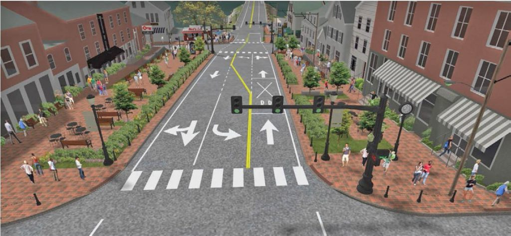 This rendering shows some changes proposed for downtown Wiscasset that include installing new traffic lights and turn-out lanes at intersections. The Maine Department of Transportation planned to move forward with the plan despite withdrawal of support by the town selectboard.