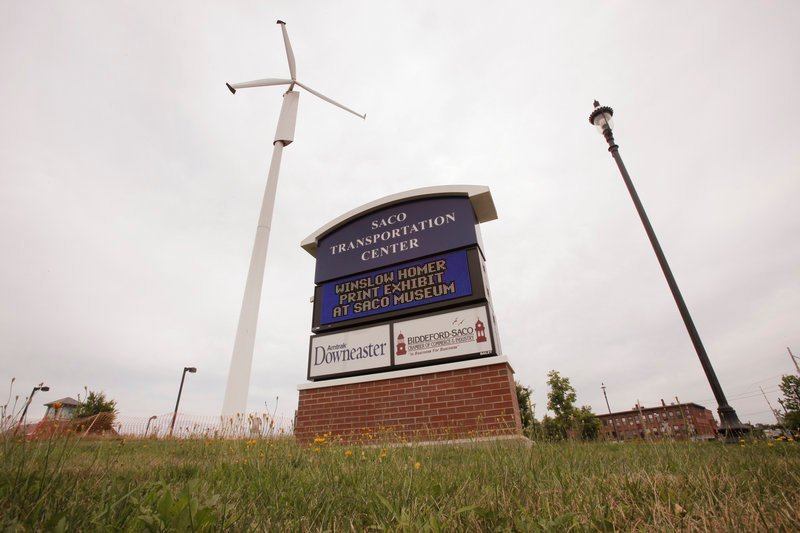 The wind turbine at the Saco Transportation Center, shown in 2010, is to come down.