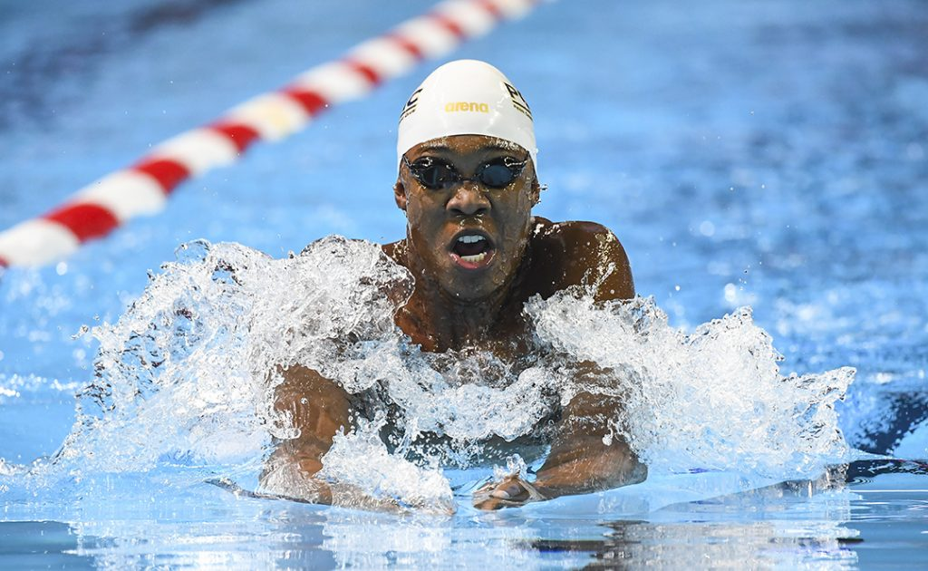 Reece Whitley competes in the 200m breaststroke prelim during U.S. Olympic swim trials on June 29, 2016, in Omaha, Nebraska.