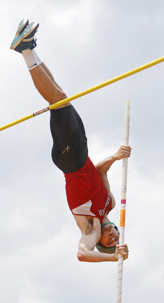 Sam Rusak of Scarborough repeated as the boys' outdoor track athlete of the year by tying the state record in the pole vault, finishing second in the high jump and taking part in a record 400-meter relay team in the Class A state meet, helping the Red Storm capture another championship.