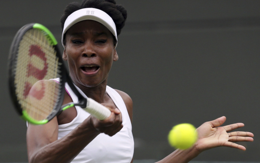 Venus Williams defeated Belgium's Elise Mertens on the opening day at Wimbleon on Monday, but struggled to stay composed during the postmatch news conference.