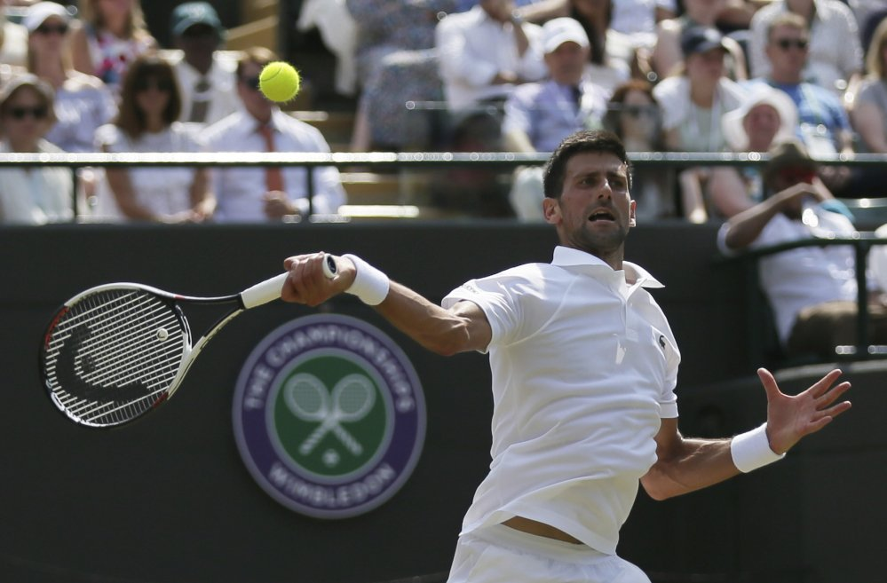 Serbia's Novak Djokovic had little trouble handling Adam Pavlasek of the Czech Republic on Thursday during their singles match at Wimbledon, winning 6-2, 6-2, 6-1. Djokovic has only dropped eight games in his first two matches.