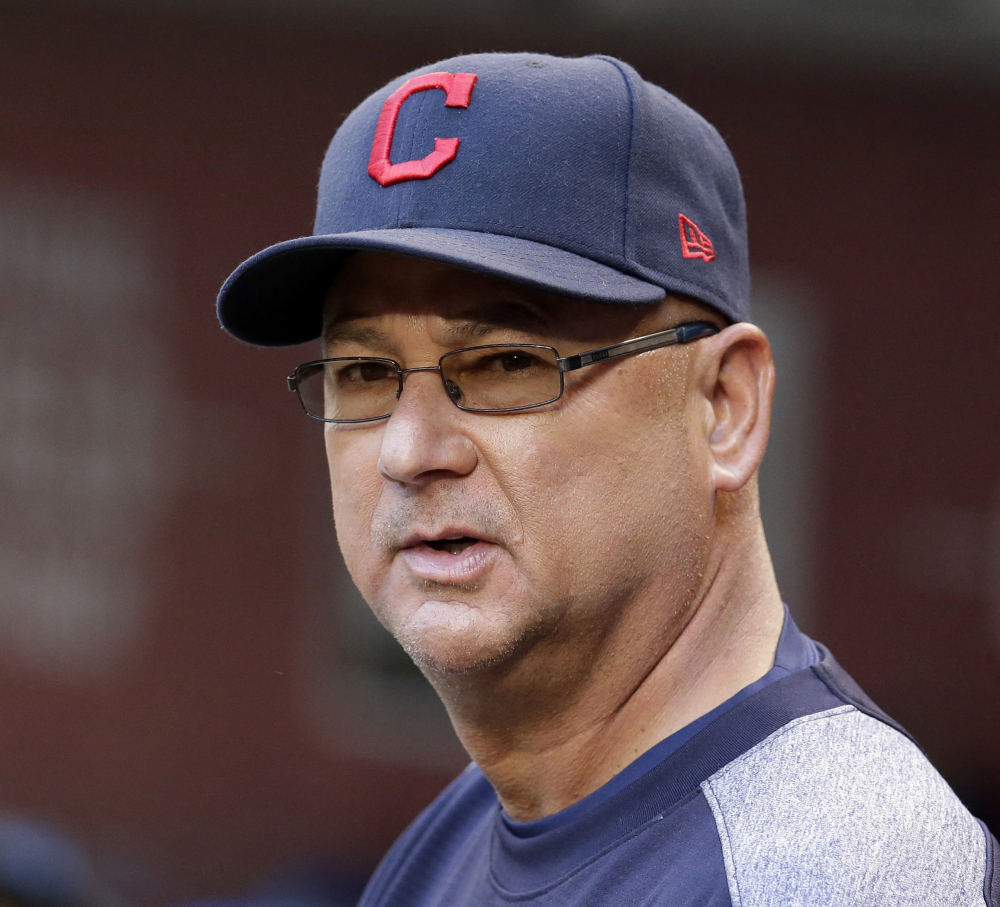 In this April 8, 2017, file photo, Cleveland Indians manager Terry Francona looks over the field during the first inning of a baseball game against the Arizona Diamondbacks, in Phoenix.