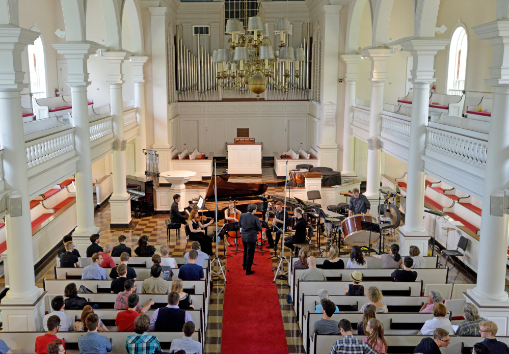 Members of the Atlantic Music Festival perform Saturday at Lorimer Chapel at Colby College in Waterville.
