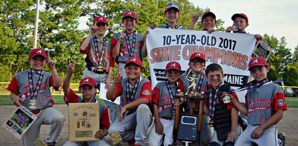 Members of the Ararat team that won the Cal Ripken 10U state title, from left to right: Front row – Rhys Terry, Andrew Clemons, Kenny Mecham, Nick Brady, Brady Alexander, Dash Farrell and Stan Spooner; Back – Aaron Paul, Ethan Berry, Drew Veilleux, Zander Steele and Cale Harrington. Not pictured: Manager Chris Farrell and coaches Bill Terry and Jason Clemons.