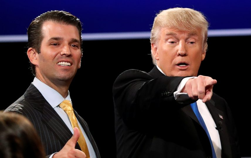 "Donald Trump Jr. (left) was eager for a meeting where he was promised information from Russian government sources to help his father's campaign. But he later called media reports of that meeting ""phony."""