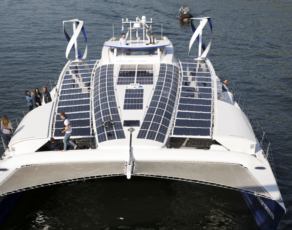 A former race boat, the Energy Observer will rely on sun and wind during the day and tap into its hydrogen reserves at night during what it hopes to be a six-year journey.