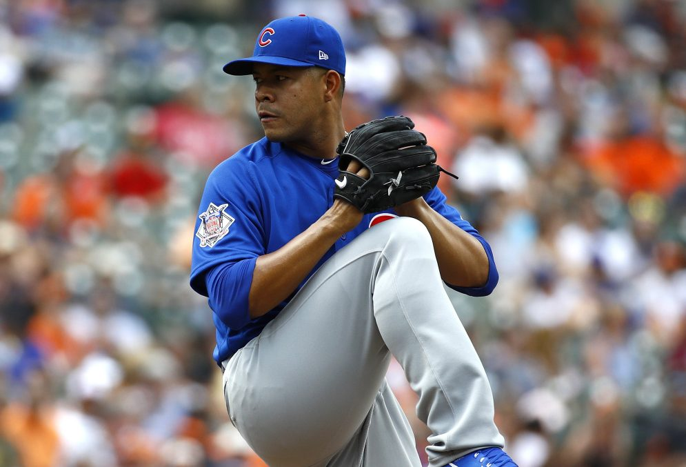Jose Quintana struck out 12 in seven innings Sunday in his first start for the Cubs, lifting Chicago to an 8-0 win over the Orioles in Baltimore.