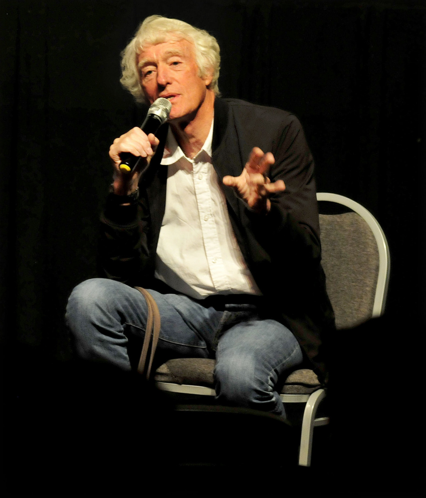 Roger Deakins takes questions Monday at Railroad Square Cinema in Waterville. He's worked with Ethan and Joel Coen, Sam Mendes, M. Night Shyamalan and Dennis Villeneuve.