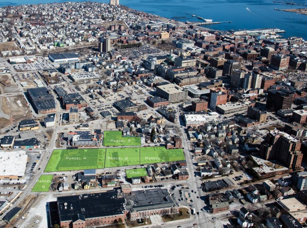 The six parcels once used by the public works department and now open for development in Portland's West Bayside neighborhood are highlighted in green.