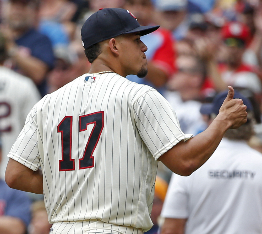 Minnesota starter Jose Berrios gives a thumbs-up as he leaves Wednesday's game against New York in the seventh inning after a stellar performance.