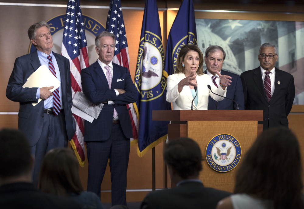 "Congressional leaders discuss the Republican efforts to replace ""Obamacare"" during a news conference on Capitol Hill in Washington on Thursday. House Minority Leader Nancy Pelosi, D-Calif., was joined by, from left, Rep. Frank Pallone, D-N.J., the ranking member of the House Energy and Commerce Committee, Rep. Richard Neal, D-Mass., the ranking member of Ways and Means, Rep. John Yarmuth, D-Ky., the ranking member of the House Budget Committee, and Rep. Bobby Scott, D-Va., the ranking member on the House Committee on Education and the Workforce."