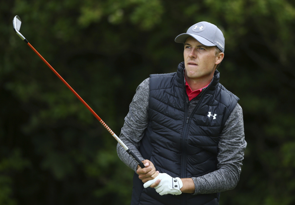 Jordan Spieth plays off the fifth tee during the first round of the British Open Thursday at Royal Birkdale in Southport, England.