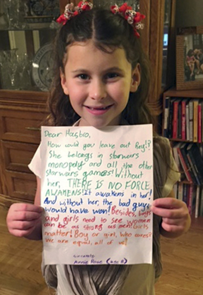 Annie Rose Goldman diplays the letter she wrote to Hasbro that went viral.