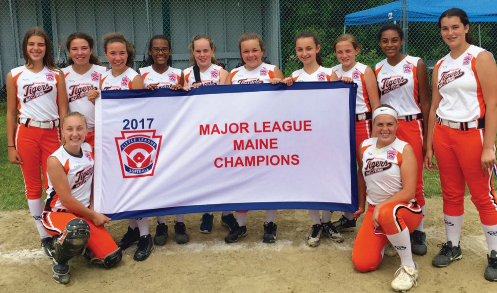 The Biddeford Little League softball team carries the Maine banner to a regional again. Back, left to right: Hannah Gosselin, Savannah Petrin-Kendrick, Emilee Petrin-Kendrick, Grace Tardif, Kerri Scott, Vanessa Hale, Aliya Tingley, Lexi Libby, Cheyenne Tardif and Baylor Wilkinson. Front, left to right: Laura Perreault and Charlotte Donovan.