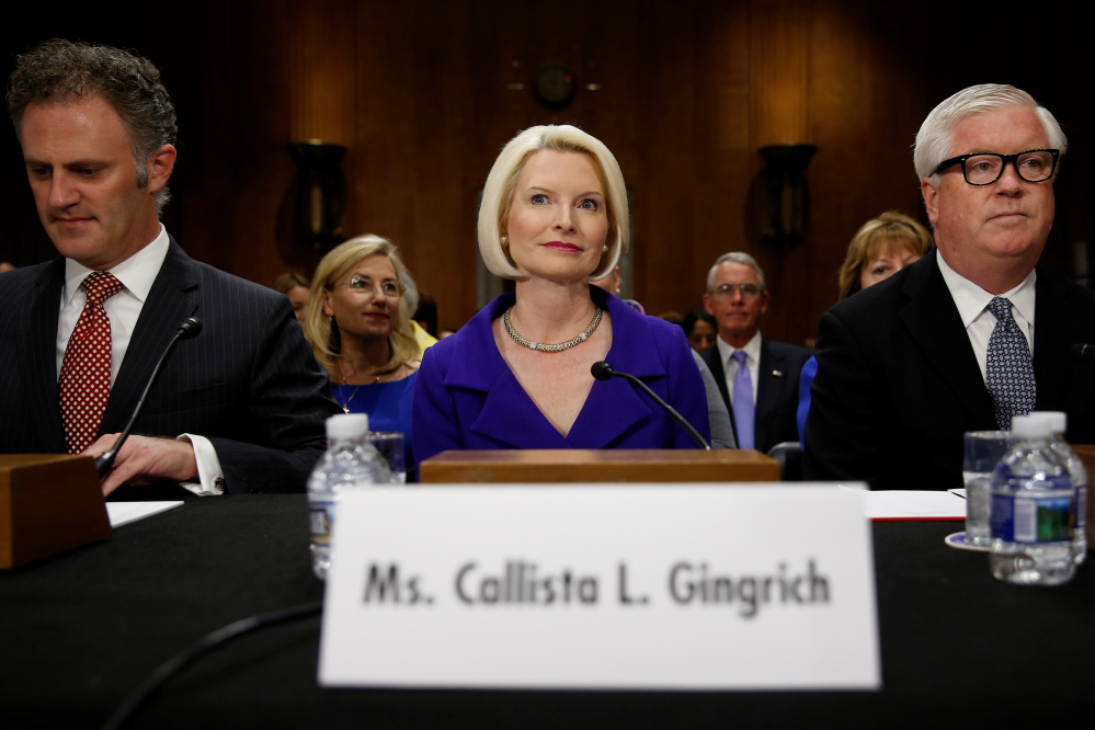 Callista Gingrich takes her seat for a Senate Foreign Relations Committee hearing to discuss her nomination to be U.S. ambassador to the Vatican on Capitol Hill in Washington on Tuesday.